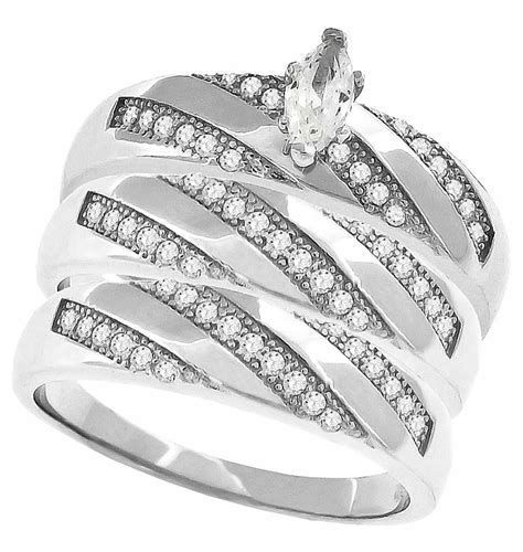 Sterling Silver MarquisTrio Wedding Ring Set For Bride and
