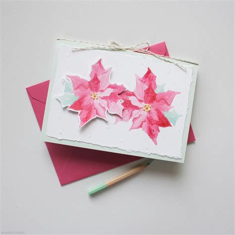 Cards Handmade - handmade poinsettias card mospens studio