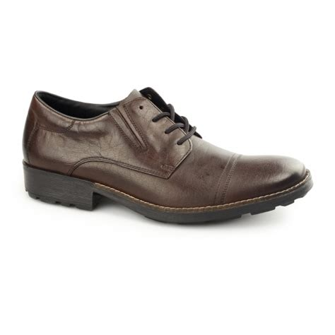 rieker 16023 27 mens leather lace up wide fit shoes brown