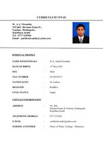 Curriculum Vitae Sample Format by Bio Data