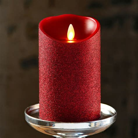 moving flame red glitter candle battery operated 3 5 x 5