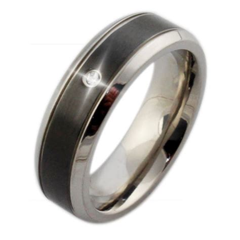 black satin titanium diamond alternatives wedding band