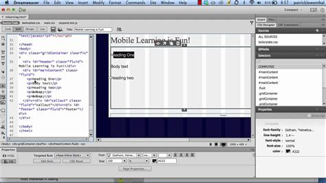 dreamweaver tutorial fluid grid layout creating mobile websites with a fluid grid layout using