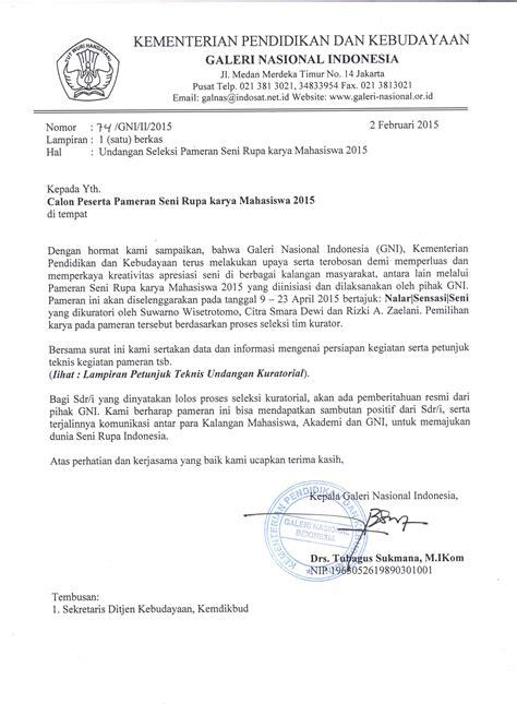 Surat Resmi Undangan by Undangan Terbuka Pameran Seni Rupa Karya Mahasiswa 2015