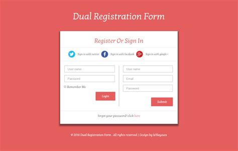 registration form template html dual registration form responsive widget template