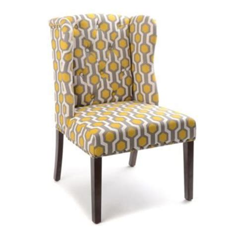 yellow and grey accent chair yellow gray geo print wingback accent chair gray