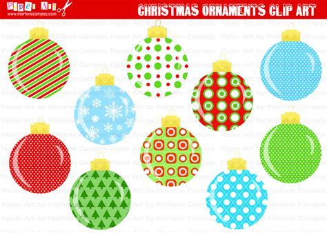 christmas tree decorations printable instant printable ornaments clip