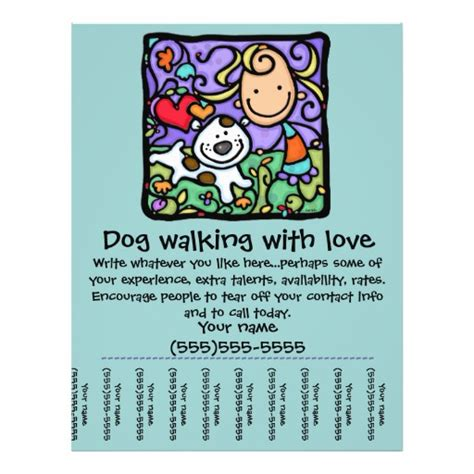 Littlegirlie Dog Walk Sitting Tear Sheet Flyer Zazzle Walking Flyer Template Free