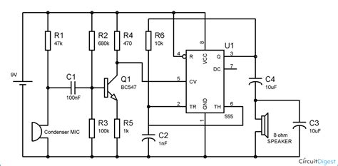 simple audio lifier circuit diagram using 555 timer ic