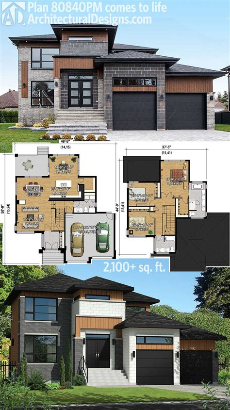 modern home blueprints plan 80840pm multi level modern house plan modern house