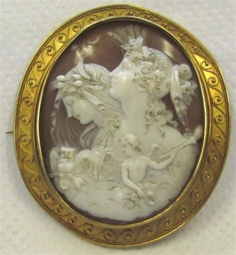 s day cameos large antique 18k yellow gold cameo brooch day
