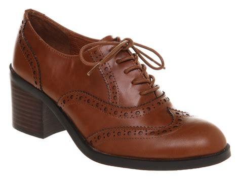 womens office francis brogue leather heels ebay