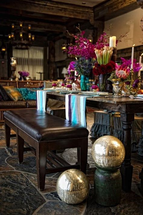 Rich Home Decor Rich And Dining Space With Bohemian Details And Colorful Table Setting Interior Design