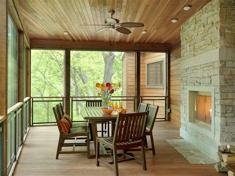 screened in porch with fireplace Porch Traditional with