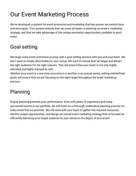Event Marketing Proposal Template Venue Marketing Plan Template