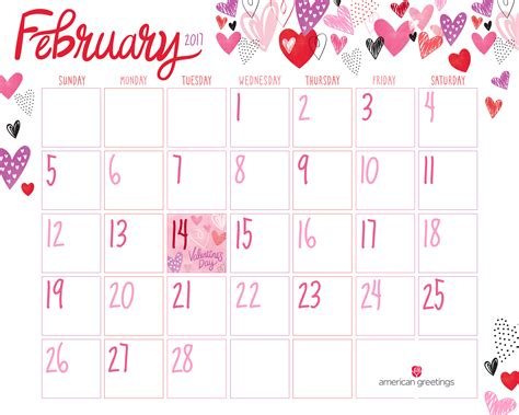 Free Printable February Calendar   American Greetings Blog