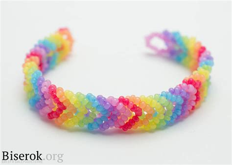 diy rainbow color woven beaded bracelet