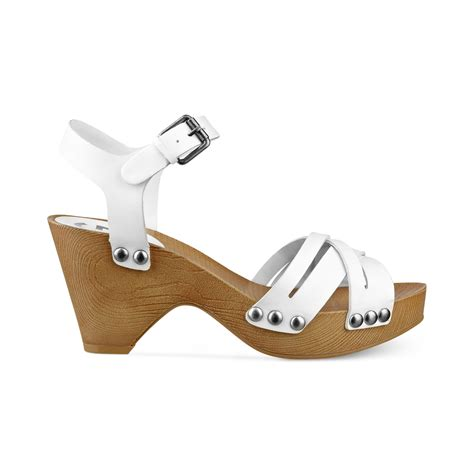 clog heels sandals lyst g by guess womens jackal platform clog sandals in white