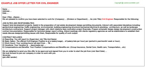 Offer Letter Sle For Civil Engineer Civil Engineer Offer Letters