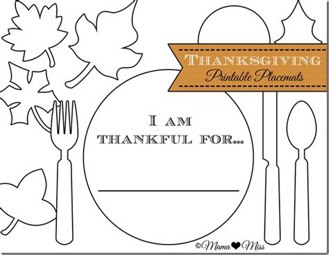 free printable thanksgiving placemats i am thankful for placemat www imgarcade com online