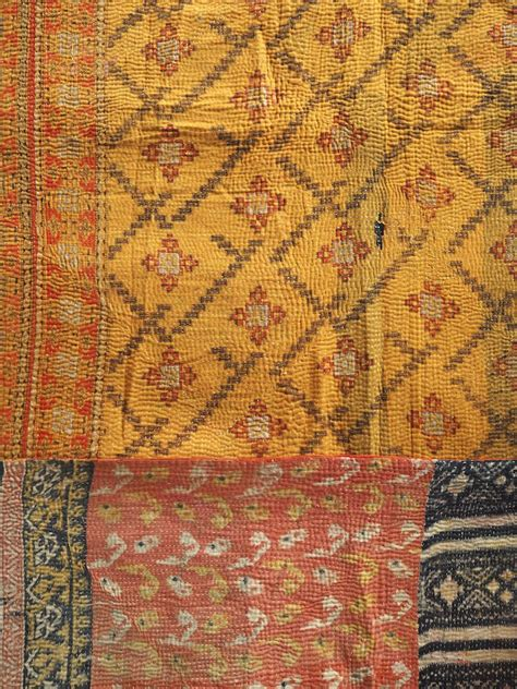 Gold Coverlets And Quilts Gold Zig Zag Pattern Vintage Kantha Quilt 187 Bringing It