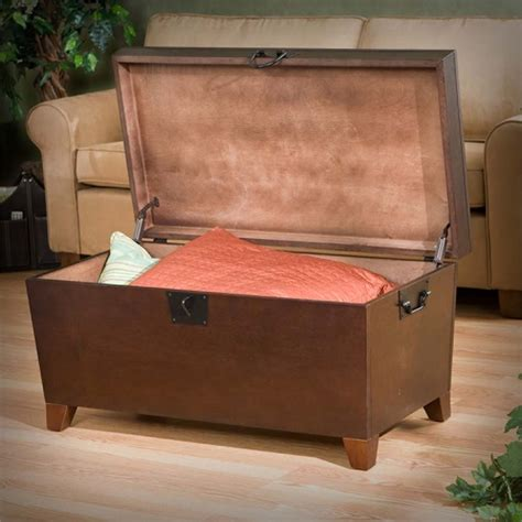 southern enterprises pyramid storage trunk coffee table in