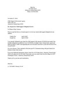 Contract Modification Letter Child Support Modification Letter Sle Free Printable Documents