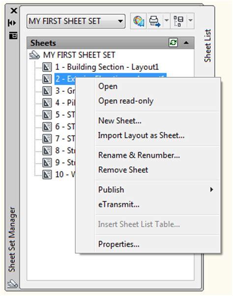 autocad tutorial sheet set sheet set options in autocad
