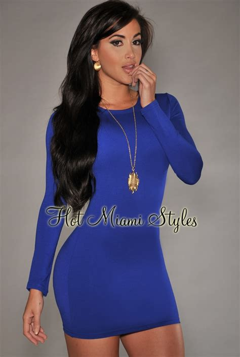 Royal Blue Long Sleeves Body Con Dress