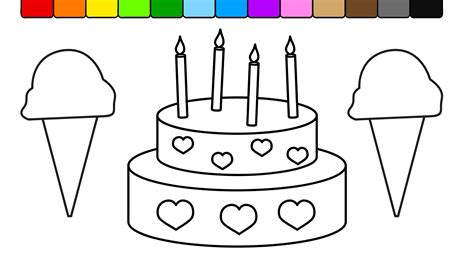 kids color learn colors for kids and color this ice cream and cake