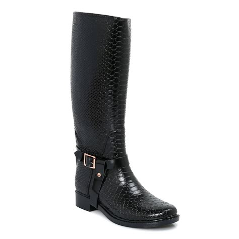 womens black boots ted baker black leather fesa welly womens boots