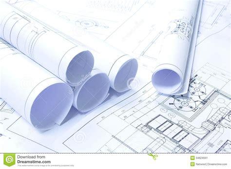 rolled blueprints stock image image 34624941