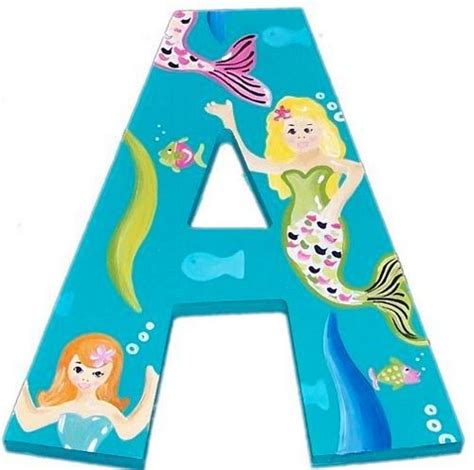 large wooden letters merry mermaid custom painted letters 1350