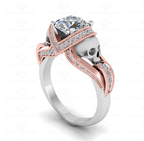 aphrodite 1 60ct white gold and rose gold skull