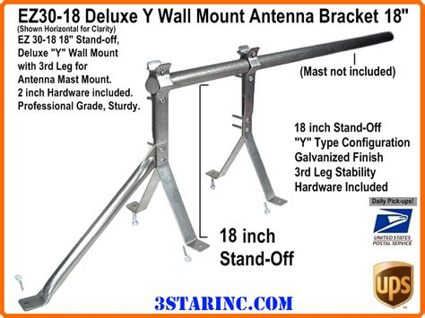 ams made in usa wall mounting brackets 18 inch deluxe y wall mount antenna bracket ez30 18 3