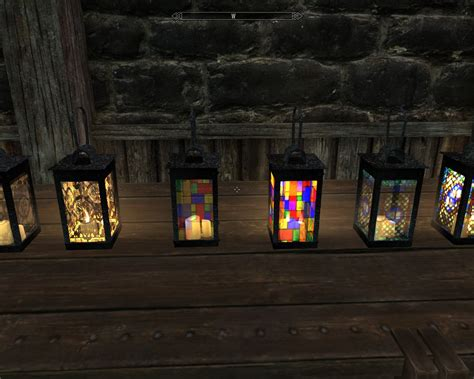 stained glass ls srramrods stained glass lanterns art at skyrim nexus