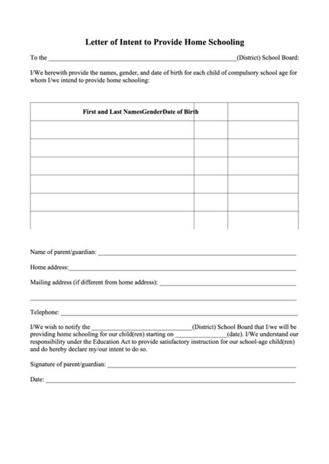Top 6 Letter Of Intent To Homeschool Free To Download In Pdf Format Homeschool Letter Of Intent Template