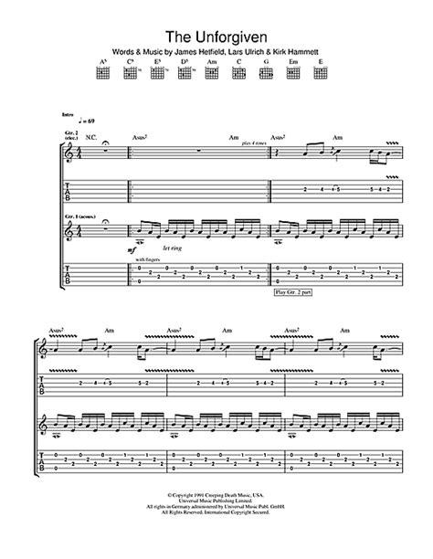 metallica one piano sheet music the unforgiven guitar tab by metallica guitar tab 106137