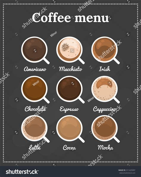 Menu Coffee Toffee Sukabumi different types coffee chocolate cocoa on stock vector