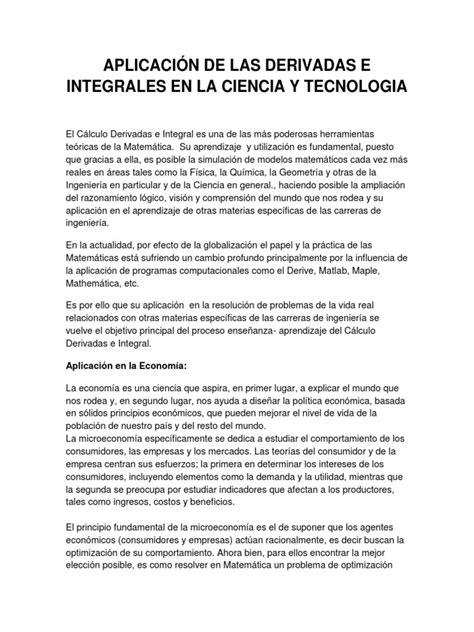 Aplicación de Las Derivadas e Integrales en La Ciencia y