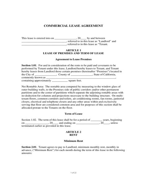 commercial building lease agreement template sle commercial lease agreement free