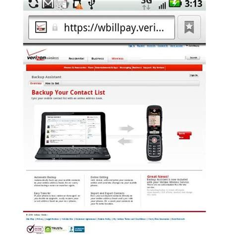 home phone service me using the verizon backup assistant to save contact information