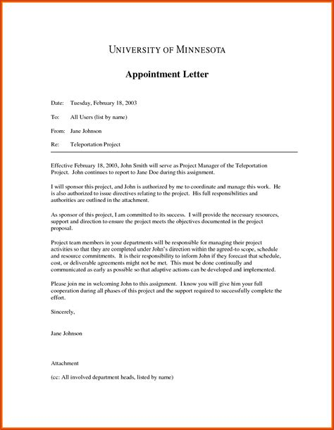 appointment letter of letter of appointment simple letter of appointment sle