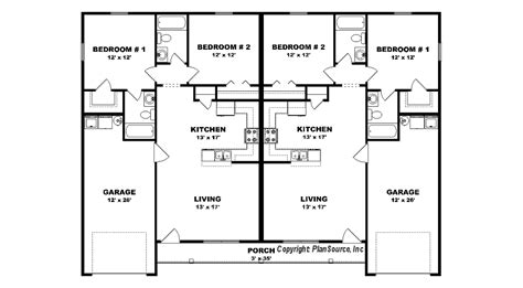Duplex Floor Plans With Garage by Duplex Plan With Garage J0408 14d Plansource Inc