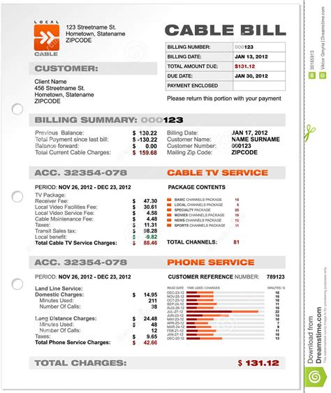 Cable Bill Template Cable Service Phone Bill Document Sle Template Stock Photos Image 30165913