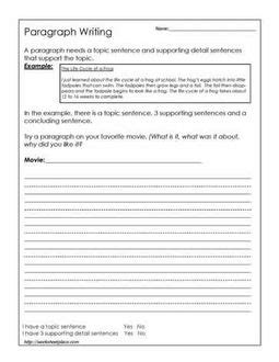 Paragraph Writing With Hints Worksheets