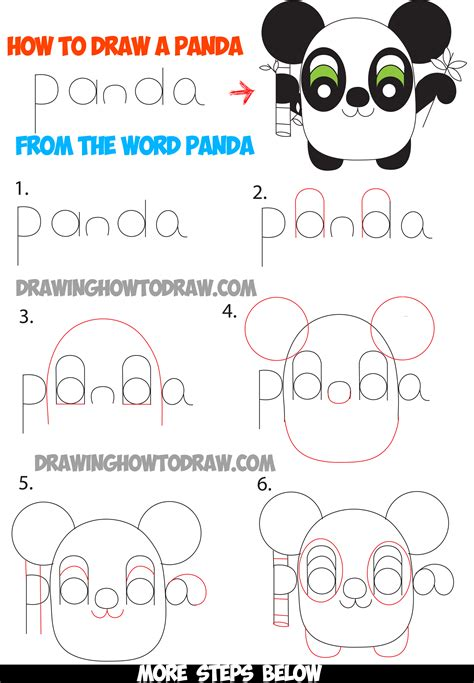 lettering tutorial step by step how to draw cartoon pandas from the word panda easy step