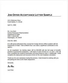 Sles Of Acceptance Letters To A Offer offer acceptance letter 8 free pdf documents