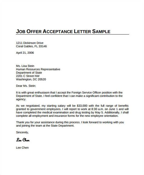 sle letter job offer acceptance cover letter templates