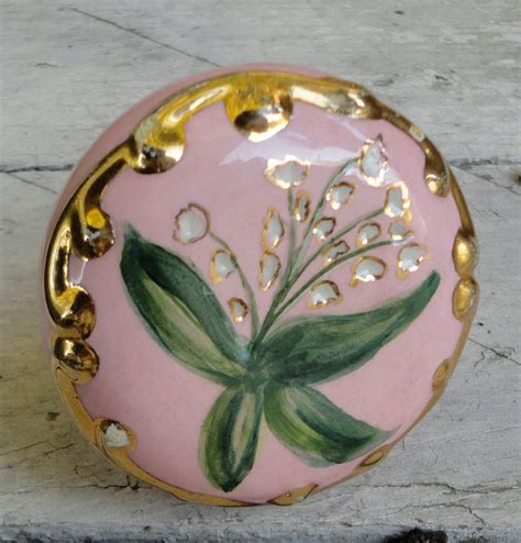 Porcelain Door Knobs Floral by Vintage Pink And Gold Ceramic Door Knob Painted Flowers